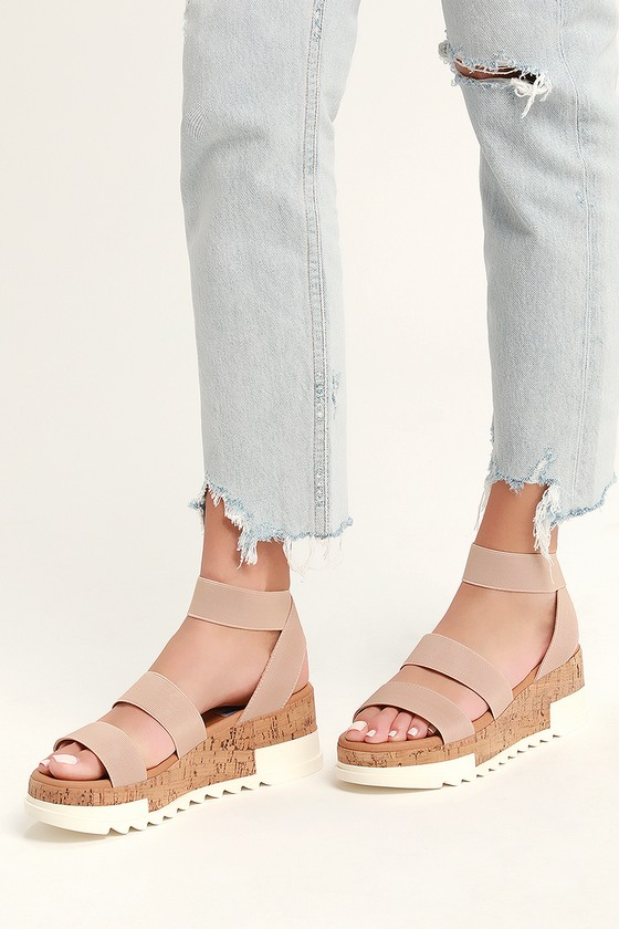 b6622555ab3 Steve Madden Bandi - Blush Sandals - Cork Sole Sandals