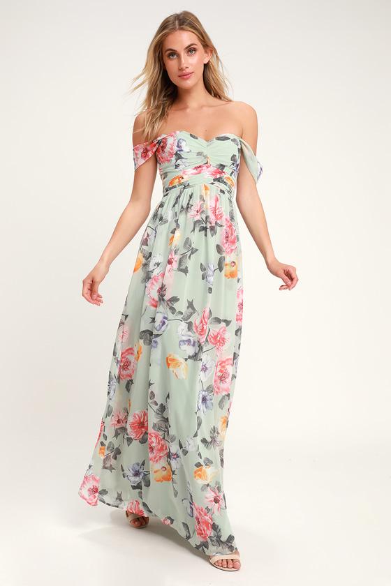 f36c01e643495 Stunning Mint Maxi Dress - Floral Print Maxi Dress - OTS Maxi