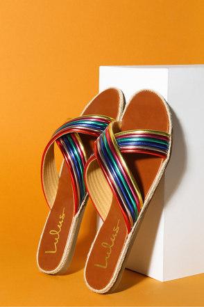 b0e088c9a Cute Rainbow Slide Sandals - Espadrille Slides - Vegan Slides