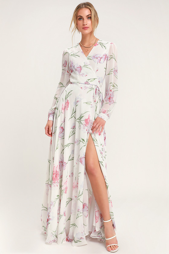 9d830ef2a2 Glam White Dress - Floral Print Maxi Dress - Wrap Dress