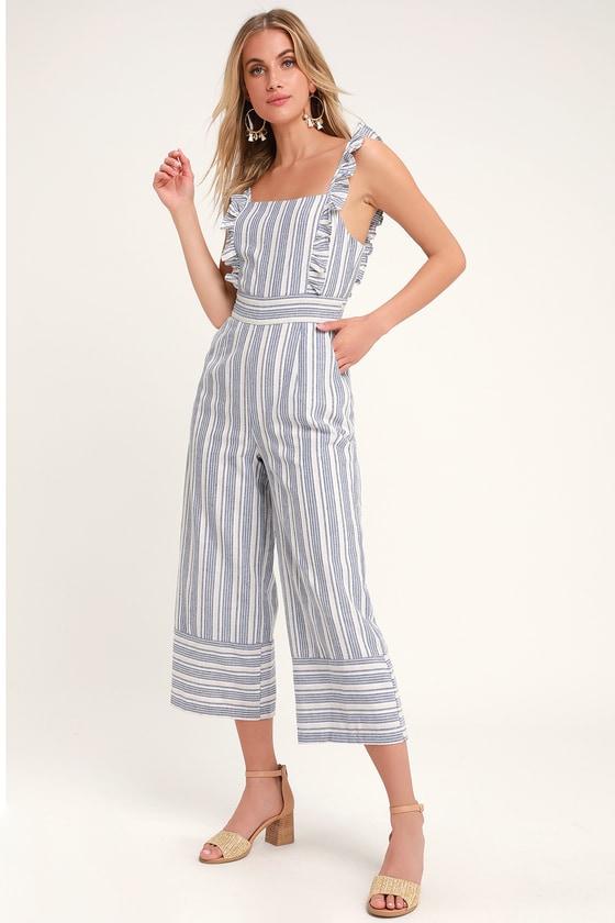 59955633c09b Darling Square Neckline Jumpsuit - Blue Striped Culotte Jumpsuit