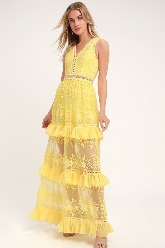 Garden Dreams Yellow Lace Tiered Maxi Dress - Lulus
