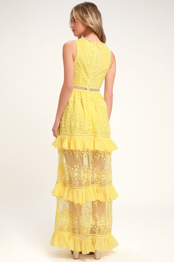 e1cb8c4385d Lovely Embroidered Maxi - Tiered Maxi Dress - Yellow Maxi Dress