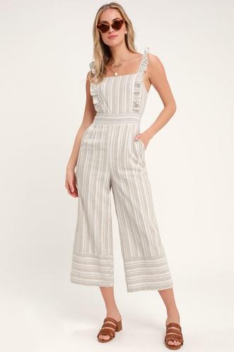 5d2ad3fb6542 Emilia Rae White and Beige Striped Ruffle Culotte Jumpsuit
