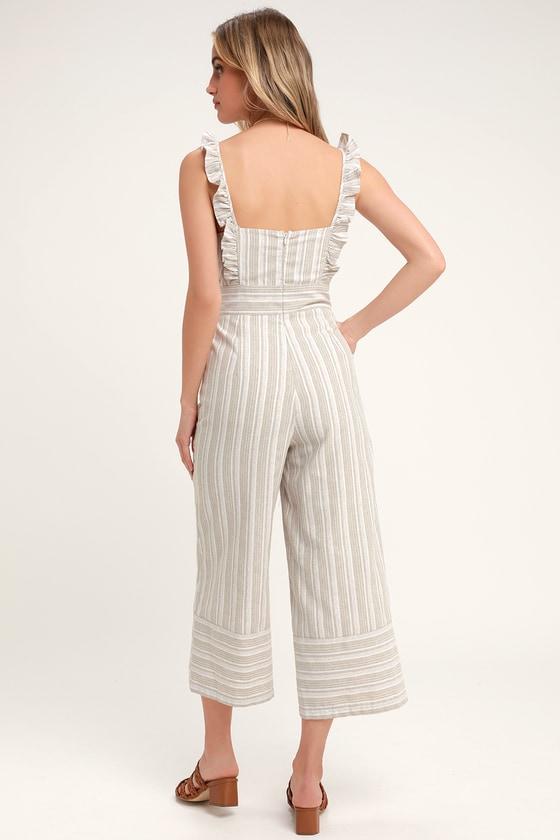 64c3f4875 Darling Square Neckline Jumpsuit - Striped Culotte Jumpsuit
