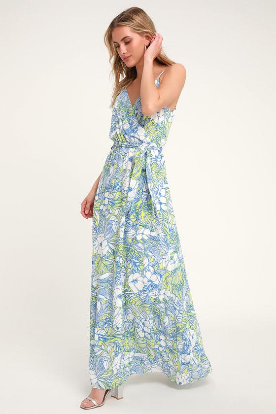 Light Blue, White and Green Tropical Print Maxi Dress