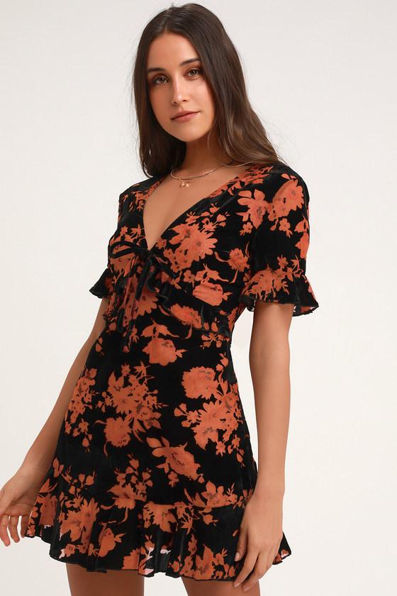 3dba278e3b2d Lovely Black Velvet Floral Print Dress - Velvet Mini Dress
