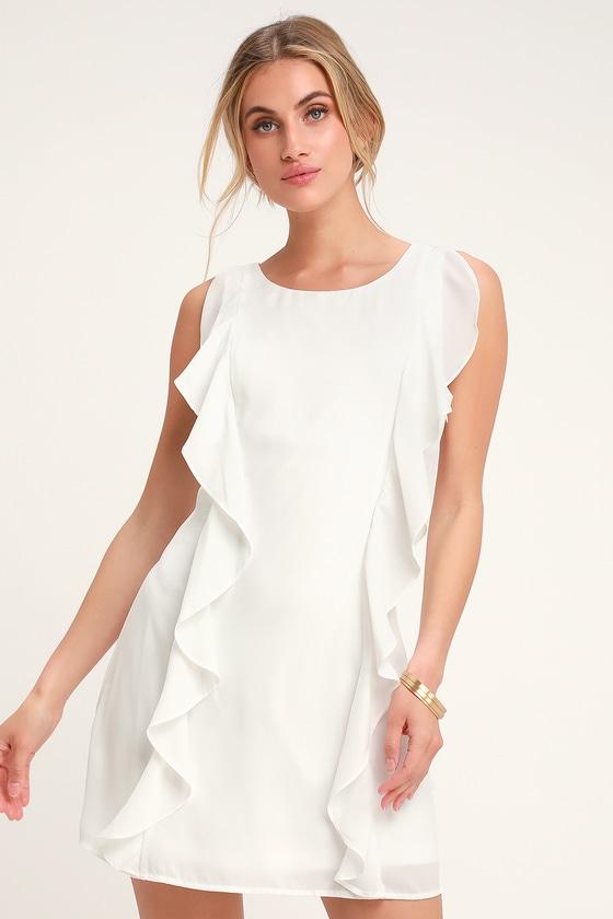 ce6db2429d Pretty White Sheath Dress - Ruffle Detail Dress - White Dress