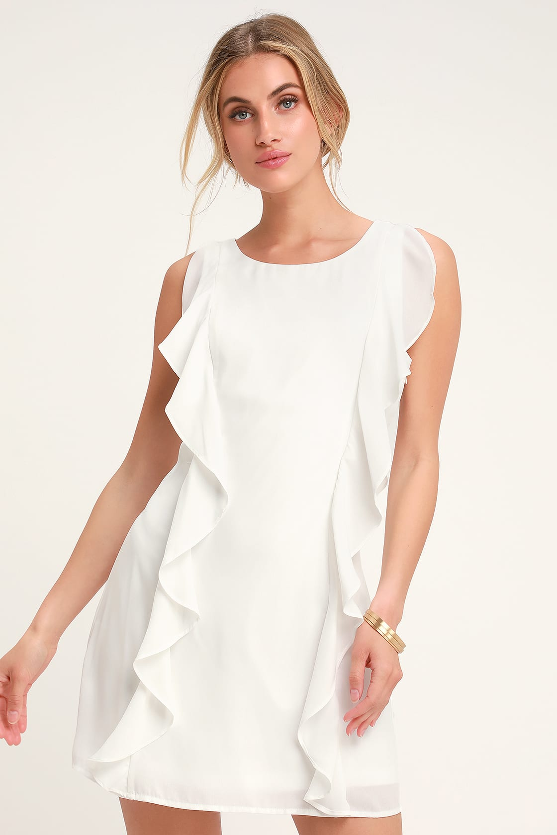 Audree White Ruffled Sleeveless Dress