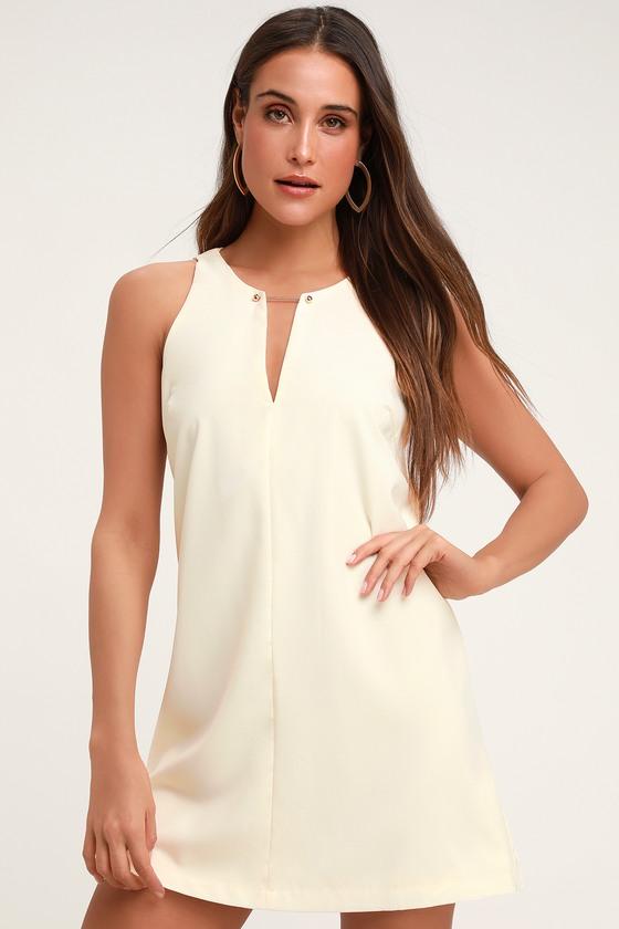 55479f4189d Chic Cream Dress - Cream Shift Dress - Gold Bar Dress