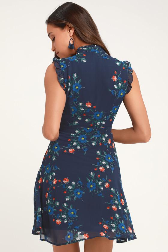 678ca56c56387 Cute Navy Blue Floral Print Dress - Blue Floral Print Dress
