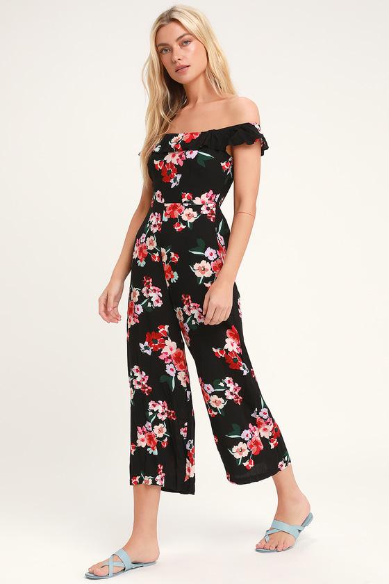 b90241e94f2f Lovely Black Jumpsuit - Floral Print Jumpsuit - Culotte Jumpsuit