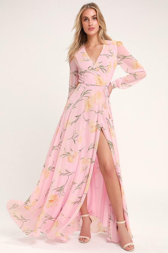 Long Sleeve Wrap Maxi Dress