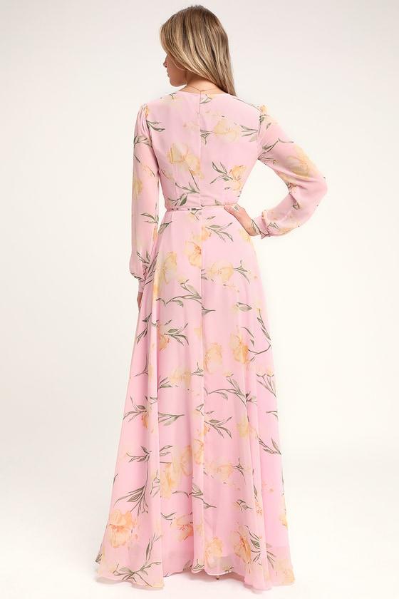 bd06b8066 Glam Blush Pink Dress - Floral Print Maxi Dress - Wrap Dress
