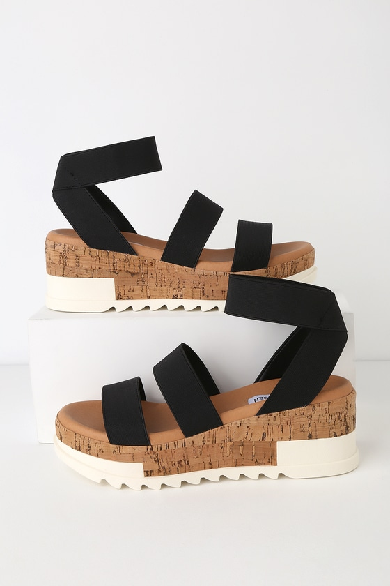 b4098aef232f Steve Madden Bandi - Black Sandals - Cork Sole Sandals