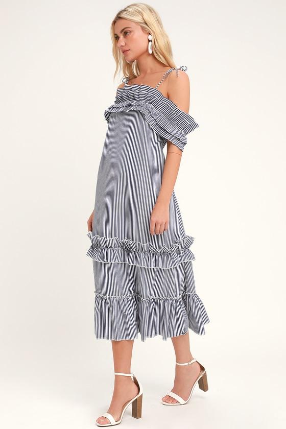 41cb203fb9 Fun Blue   White Striped Midi Dress - Striped Ruffle Skater Dress