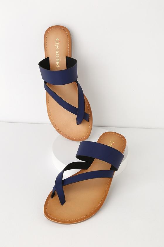 7ced5605f Cute Navy Sandals - Black Flat Sandals - Toe-Thong Sandals