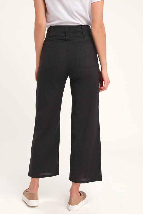 b5b4f301bb Billabong Back At It - Black Crop Pants - Cotton Wide-Leg Pants