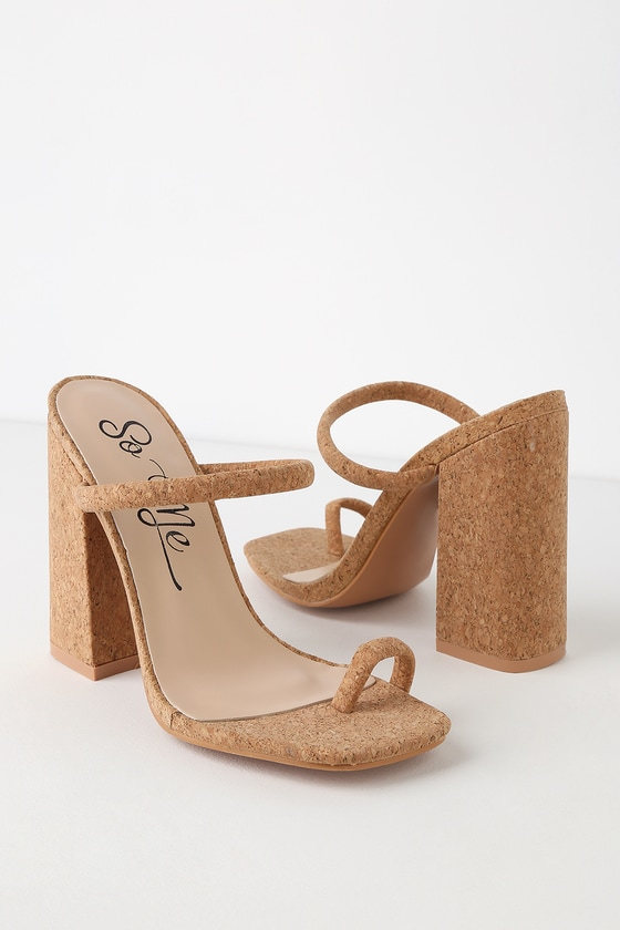 1ec390d6f837 Sexy Cork Heels - Toe Loop Heels - Slide On Heels - Block Heels
