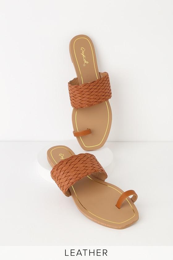 dce469aeb6c386 Cute Cognac Sandals - Toe-Loop Sandals - Woven Slide Sandals