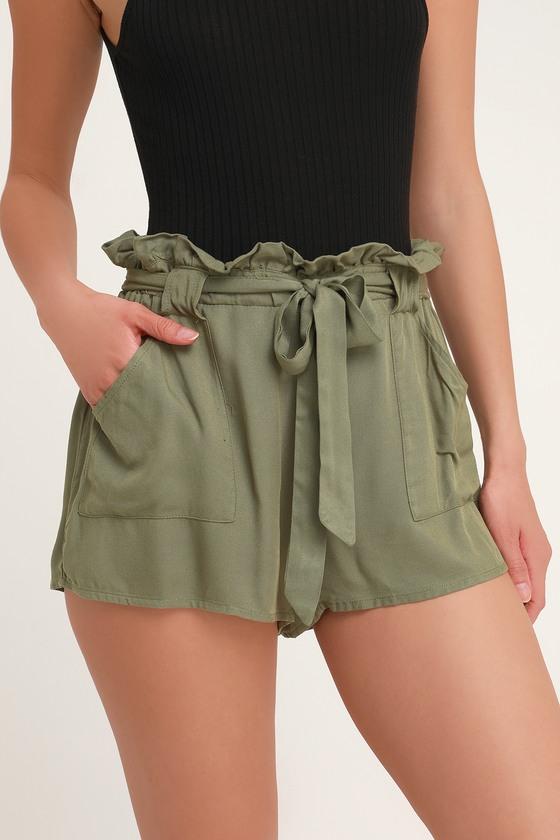67b8d205952 Cute Olive Green Shorts - Paper Bag Shorts - High Waisted Shorts