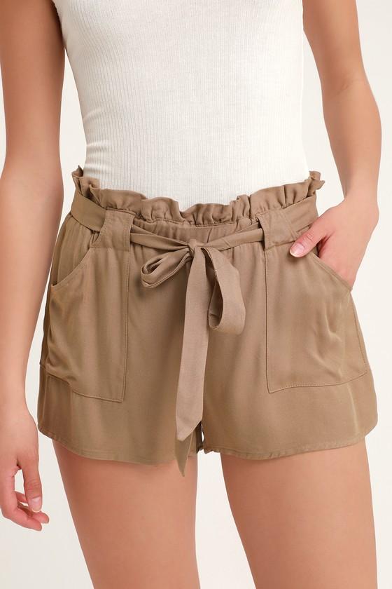 Cute Brown Shorts Paper Bag Shorts High Waisted Shorts