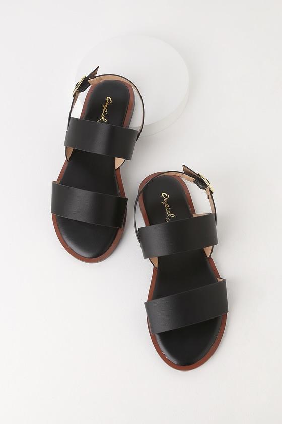69d24b2d50338 Cute Black Two-Strap Sandals - Anklestrap Sandals - Flat Sandals