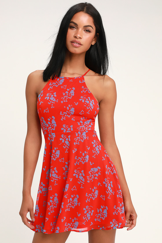 b5ca8706954d Cherished Moment Red and Blue Print Lace-Up Skater Dress