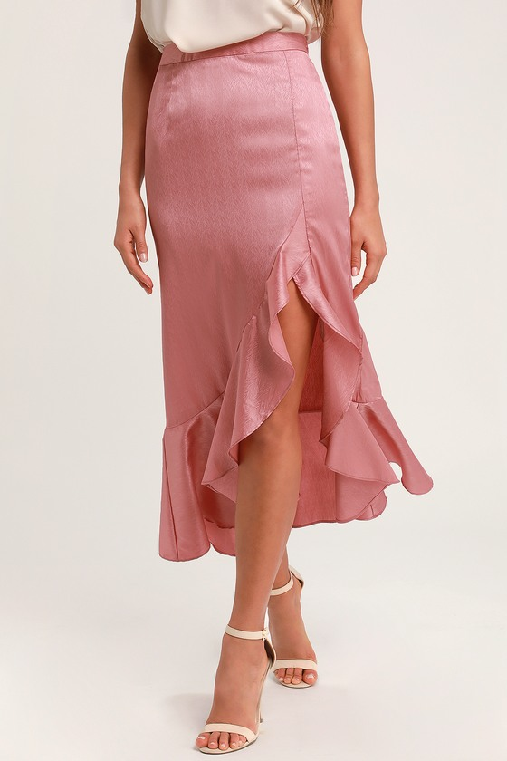 01ad284d6aa276 Cute Satin Maxi Skirt - Rusty Rose Maxi Skirt - Ruffled Skirt