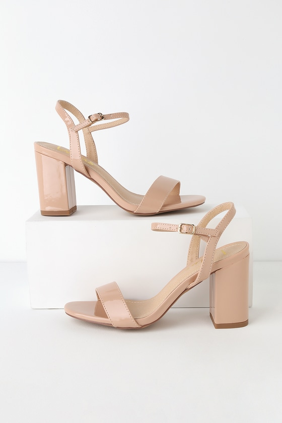 Lulus Exclusive! Dress them up or down, the Lulus Arya Nude Patent High Heel Sandals can do it all! Shiny, patent vegan leather shapes a peep-toe upper and a slender quarter strap with gold buckle. 3. 5\
