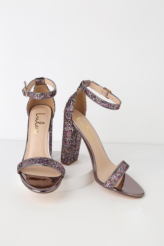 d0397a60e Stunning Glitter Heels - Multi Colored Heels - Ankle Strap Heels