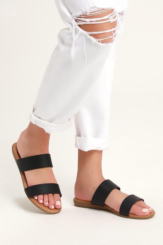 Oona Black Slide Sandals