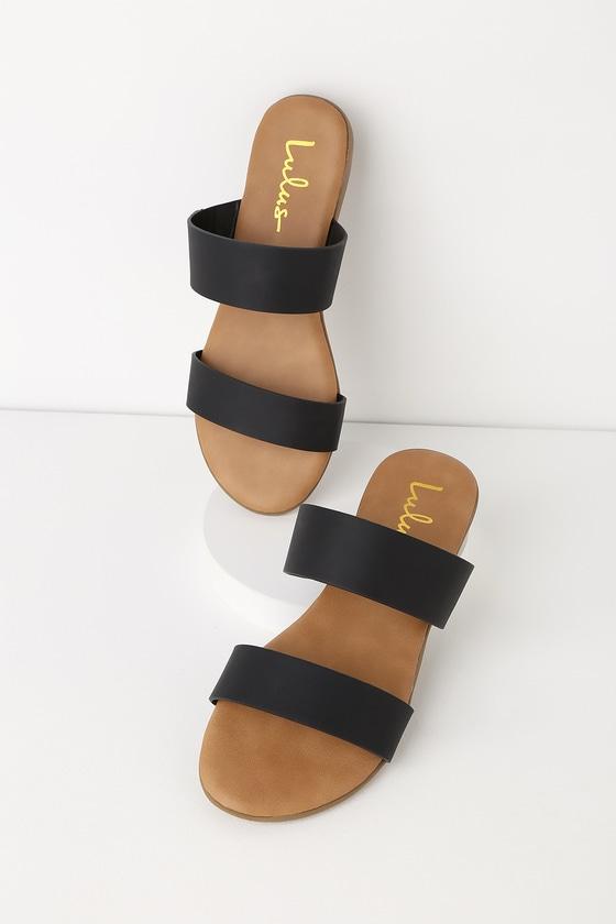 a7865bf76a70 Cute Black Slide Sandals - Vegan Leather Slide Sandals