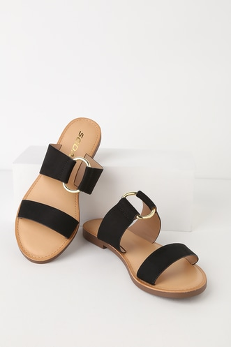 d5720626cd6be0 Gabriela Black Slide Sandals
