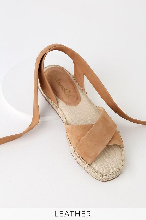 1c615630988 Splendid Tereza - Tan Suede Leather Sandals - Espadrilles