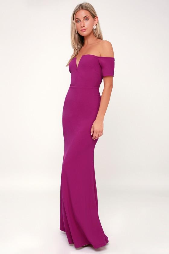 16d53771edc Stunning Maxi Dress - Mermaid Maxi Dress - Magenta Maxi Dress