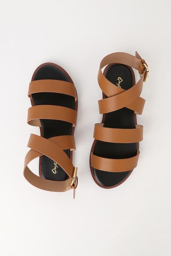 Crissana Camel Ankle-Wrap Flat Sandal Heels - Lulus