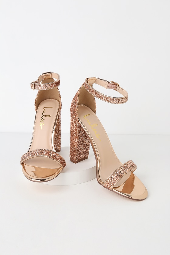 061adf0310be Stunning Glitter Heels - Rose Gold Heels - Ankle Strap Heels