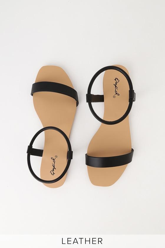 Zaira Black Flat Sandal Heels - Lulus