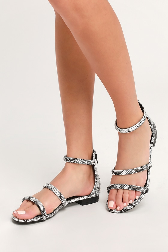 0facf0b33 Cute Black and White Snake Sandals - Vegan Leather Sandals
