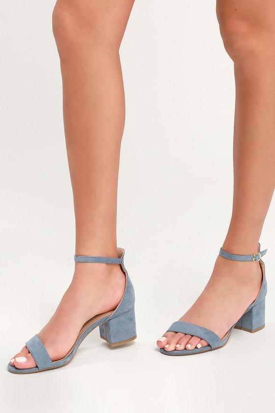 Chic Blue Sandals - Single Sole Heels