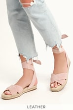 dfacea39040aad Taylor Blue Suede Ankle Strap Heels.  31 · Tereza Blush Suede Leather  Lace-Up Espadrille Sandals