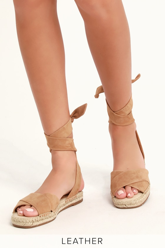 27949eda346 Tereza Tan Suede Leather Lace-Up Espadrille Sandals