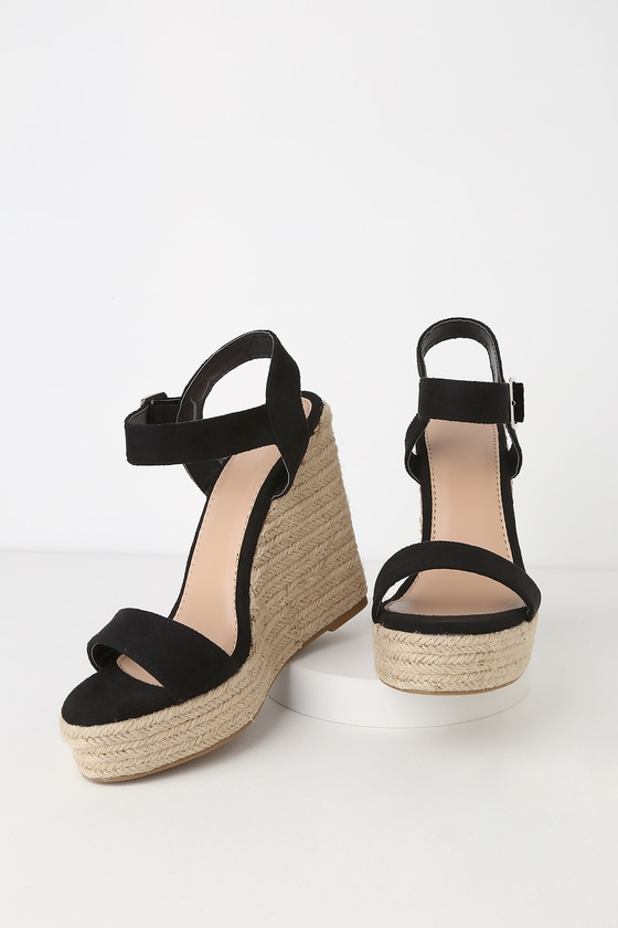 8a61b4d5b88 Beachy Dreams Black Suede Espadrille Wedges