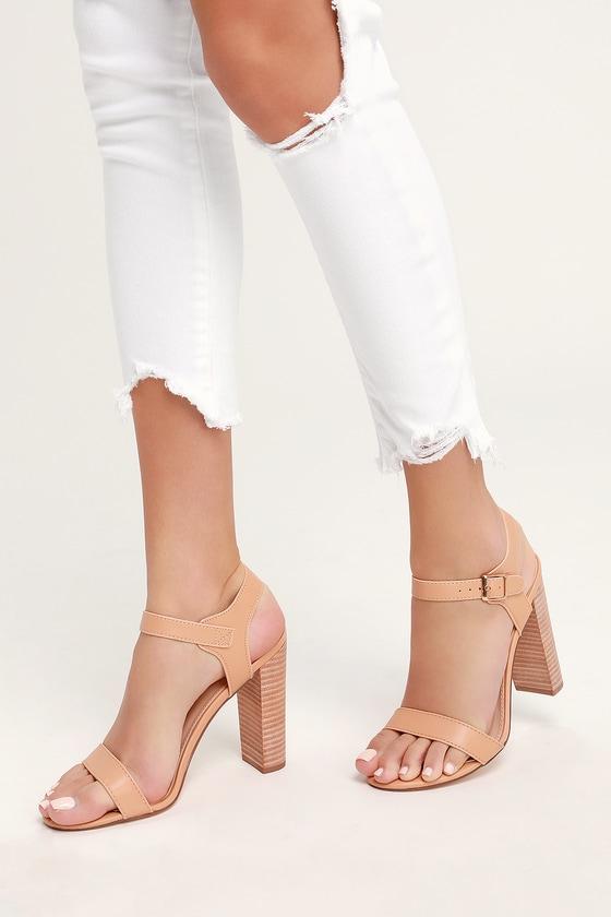 33473da2a8 Cute Nude Heels - Ankle Strap Heels - Nude Block Heels