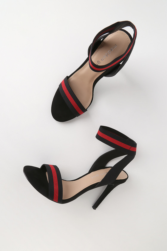 554ed99dc2 Madden Girl Lonie - Black and Red Elastic Ankle Strap Heels