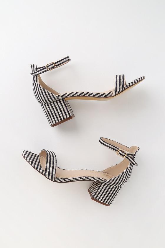 9f9d67f8f7c Ankle Strap Heels - Blue Striped Ankle Strap Heels - Woven Heels