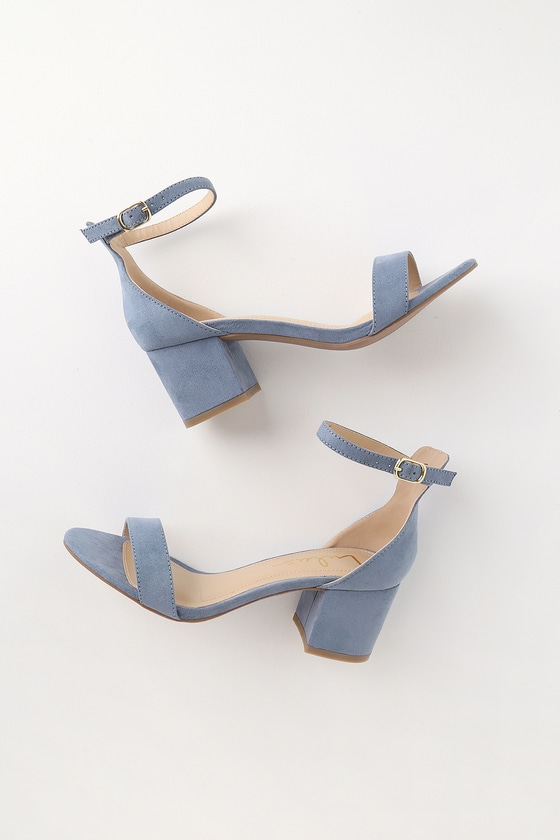 b3a7e017374 Chic Blue Sandals - Single Sole Heels - Block Heel Sandals