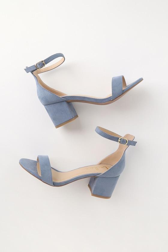 Harper Blue Suede Ankle Strap Heels by Lulus