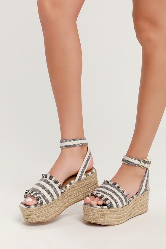 afeae32956 Cute Grey Striped Sandals - Platform Espadrilles - Wedges